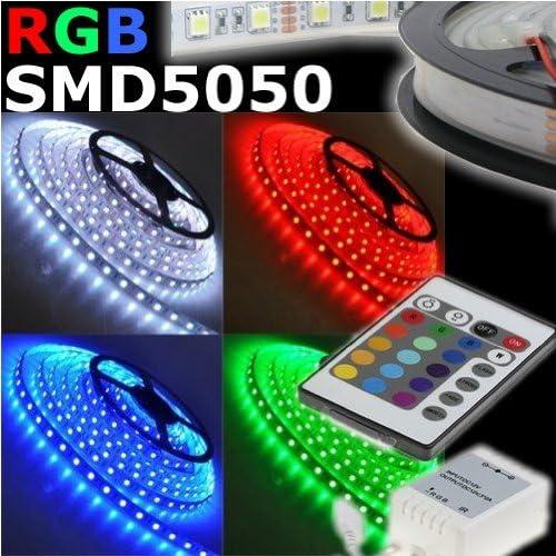 KIT TODO INCLUIDO! Tira LED flexible SMD 5050 RGB 5 metros 16 colores A PRUEBA DE AGUA!! INCLUIDO EN EL PRECIO DE ALIMENTACIÓN Y mando a distancia IR