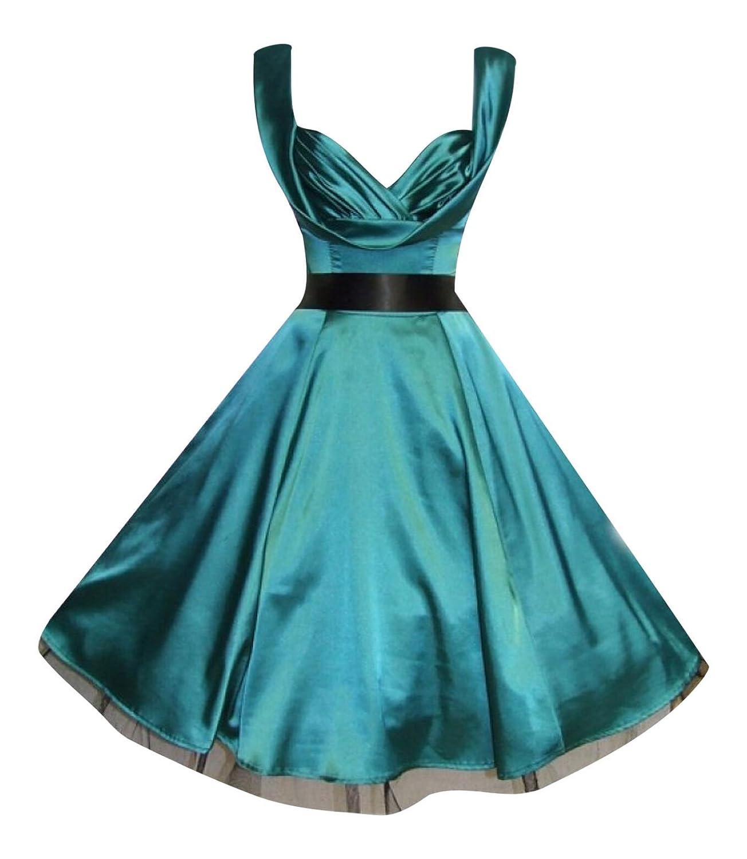 Ladies 1950\'s Vintage Style Green Silky Satin Sweetheart Drape ...