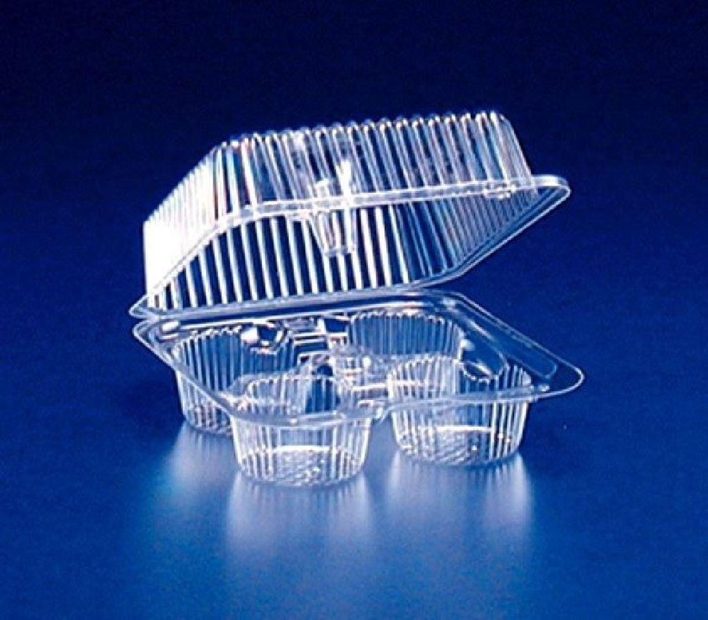 4-Cup Clear Plastic Muffin Cupcake Bakery Container (High Dome Lid) REF #SLP44A