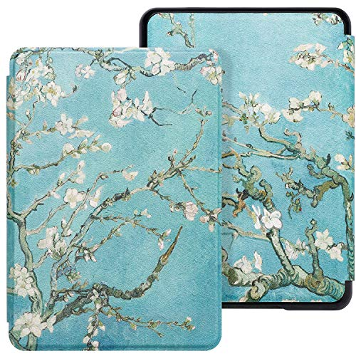 WALNEW Case Fits Kindle Paperwhite 10th Generation 2018 Protective Slim PU Leather Case Smart Auto Wake/Sleep Cover Compatible Kindle Paperwhite 10th Gen 2018 Released (A-Tree and Flowers) (Covers For Kindle 4)