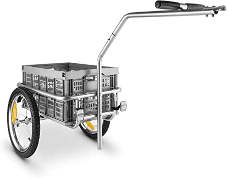 DURAMAXX Bigbig Box Remolque para Bicicletas Carretilla (40L, Carga Maxima 40kg, Palanca Acoplamiento Fija, neumáticos de 16