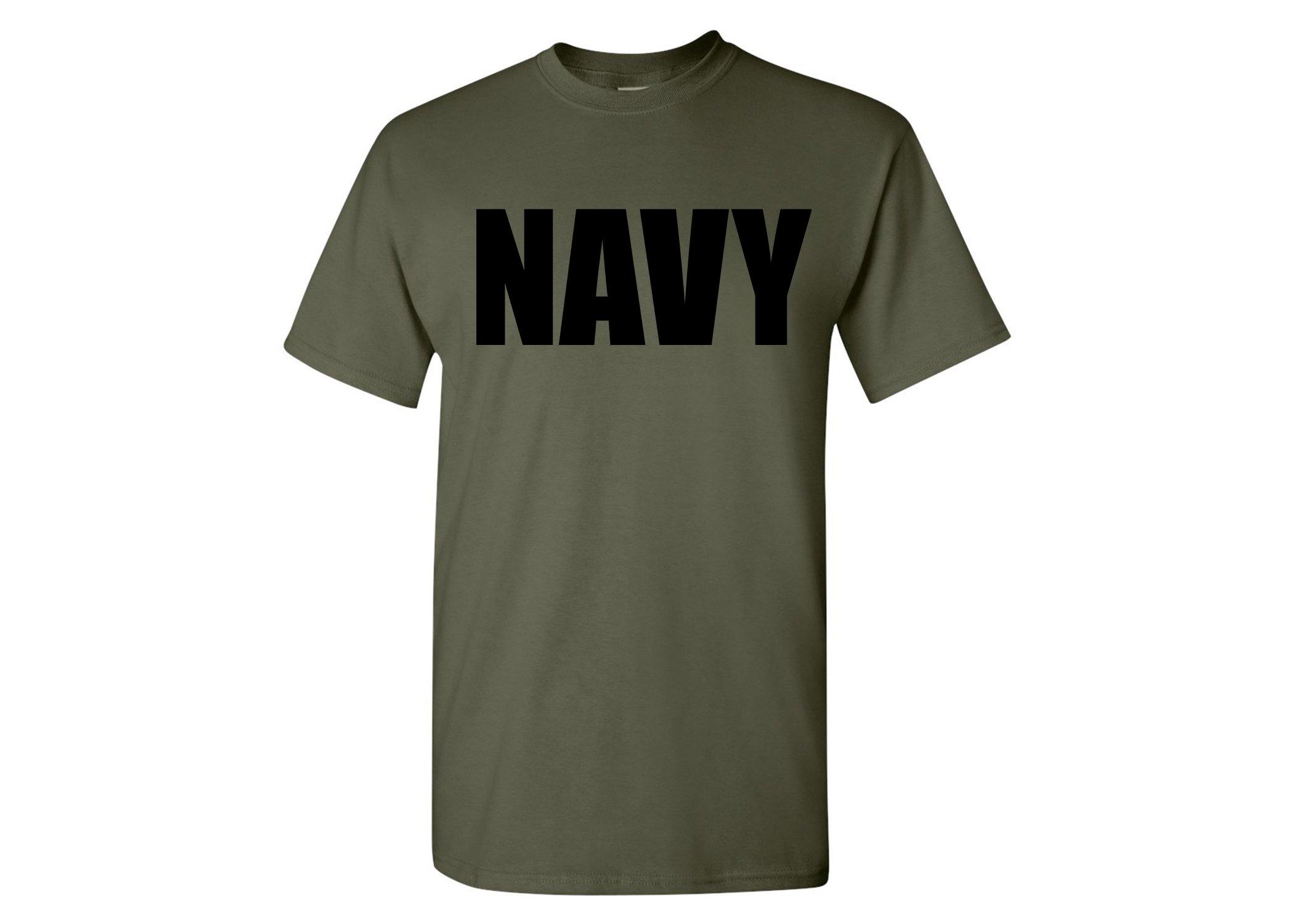 Rogue River Tactical Military Green US Navy PT T-Shirt Unites States Navy USN Tee Shirt (XL)