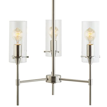 Effimero 3 Light Pendant Chandelier – Brushed Nickel w Clear Cylinders – Linea di Liara LL-C33-BN