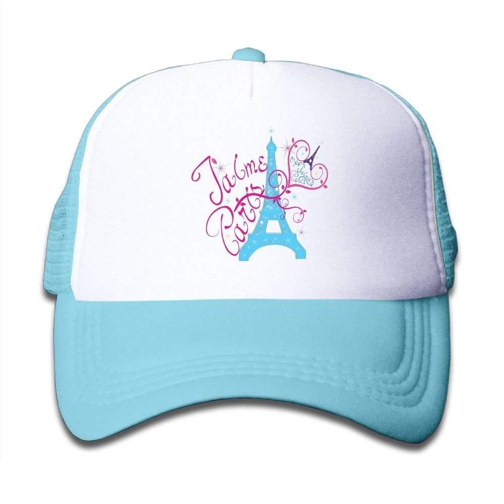 Love Paris in French Adjustable Mesh Baseball Caps Kids Trucker Hats Boy Girls