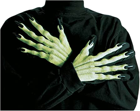 Green Latex Witch Gloves Zombie Hands Long Nails Adult Fancy Dress Halloween NEW