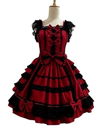 fd22453ee Amazon.co.jp: RaiFu ロリドレス コスプレ レース 洋風 ゴシック 萌え ゴスロリ かわいい ドレス レース ちょう結び 袖なし: 服 &ファッション小物