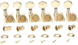 Wilkinson E-Z-LOK 6連ミニ楕円ボタン フェンダーストラト/テレキャスター エレキギター用ペグ、ゴールド