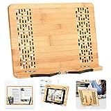 BamBoo Book Stand - Hereubuy Reading Rest holder Cookbook Cook Stand/Music Document Stand/Desk Bookrest with Retro Hollow Elegant Pattern (Medium, Hollowed Design)