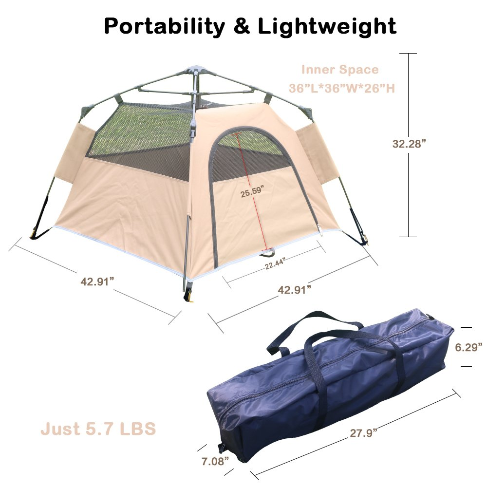 Yolafe Portable Pet Tent, Outdoor Pet Kennel with Innovative Instant Setup Centre Hub Design, Ideal for Camping with Cats and Dogs, Included Black Carry Bag and 2 (Brown) by Yolafe (Image #2)