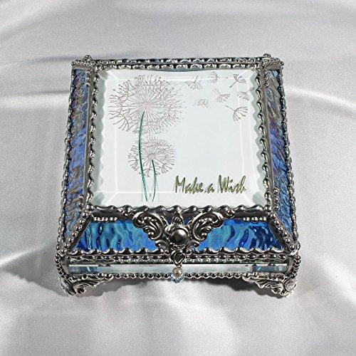 Dandylion Make a Wish 5X5 SILVER Jewelry Box by Glass Treasure Box
