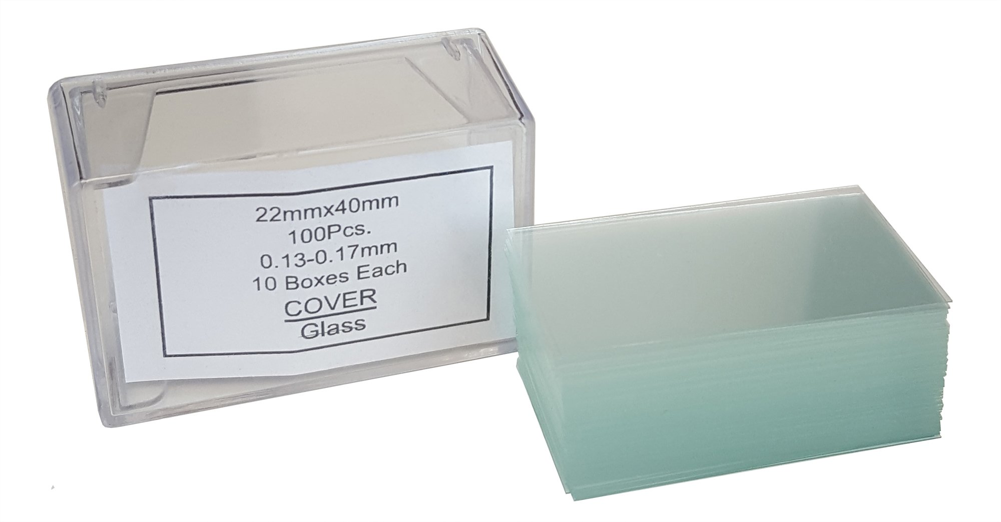 GSC International 4-13522 Glass Gsc Microscope Cover Slips, Size #1 Thickness, 22 mm x 40 mm, 1.57'' Length, 0.9'' Width (Pack of 100)