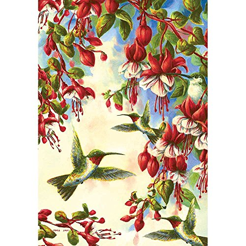 Screen Print Flag - Magnolia Garden Green Hummingbird and Red Blossoms 44 x 30 Rectangular Screenprint Large House Flag