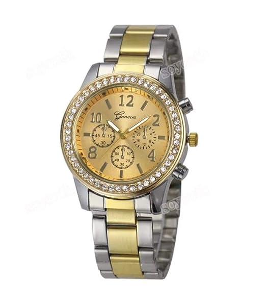 Geneva - Reloj de Oro para Damas con Pulsera de Acero: Amazon.es: Relojes