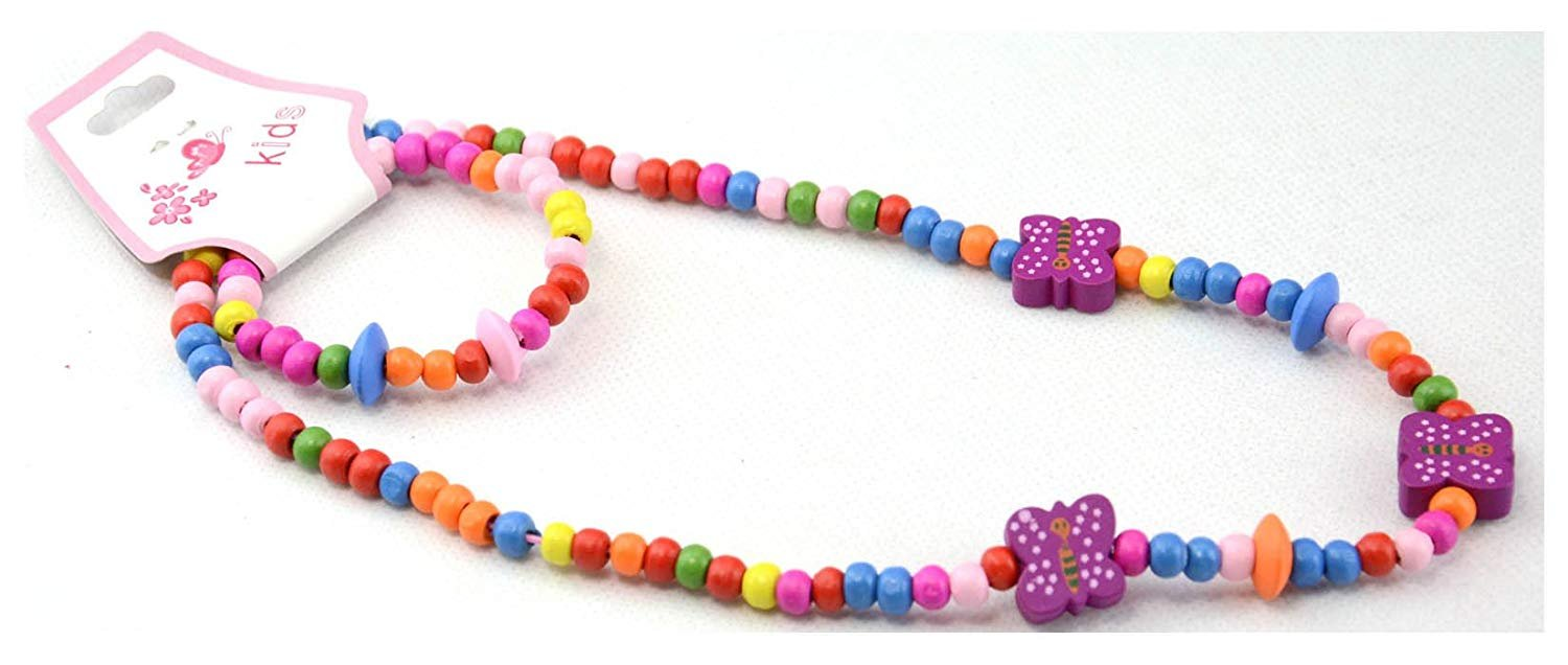 Elasticated /& Colourful Girls Traditional Style Beaded Bracelet /& Necklace Set