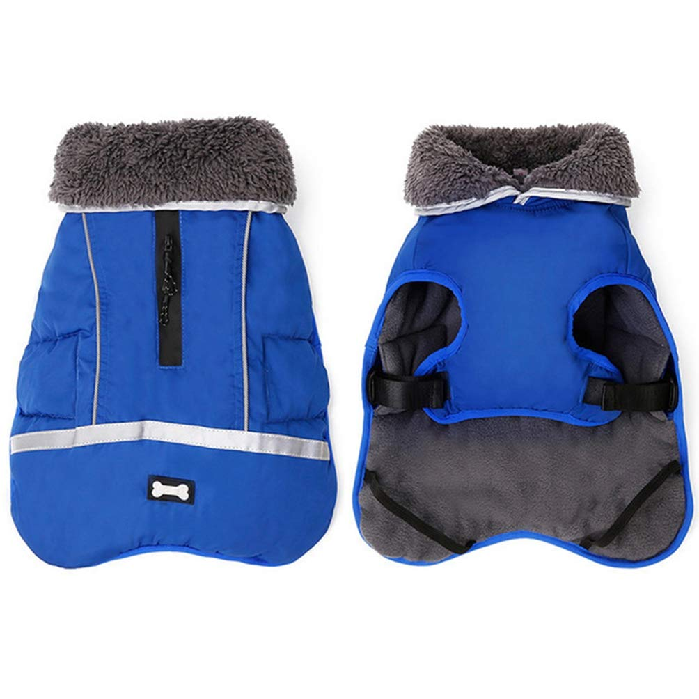 bluee S bluee S Jim Hugh Pet Dog Coat Jacket Reflective Warm Thick Fur Clothes for Large Dogs Winter Waterproof Clothing