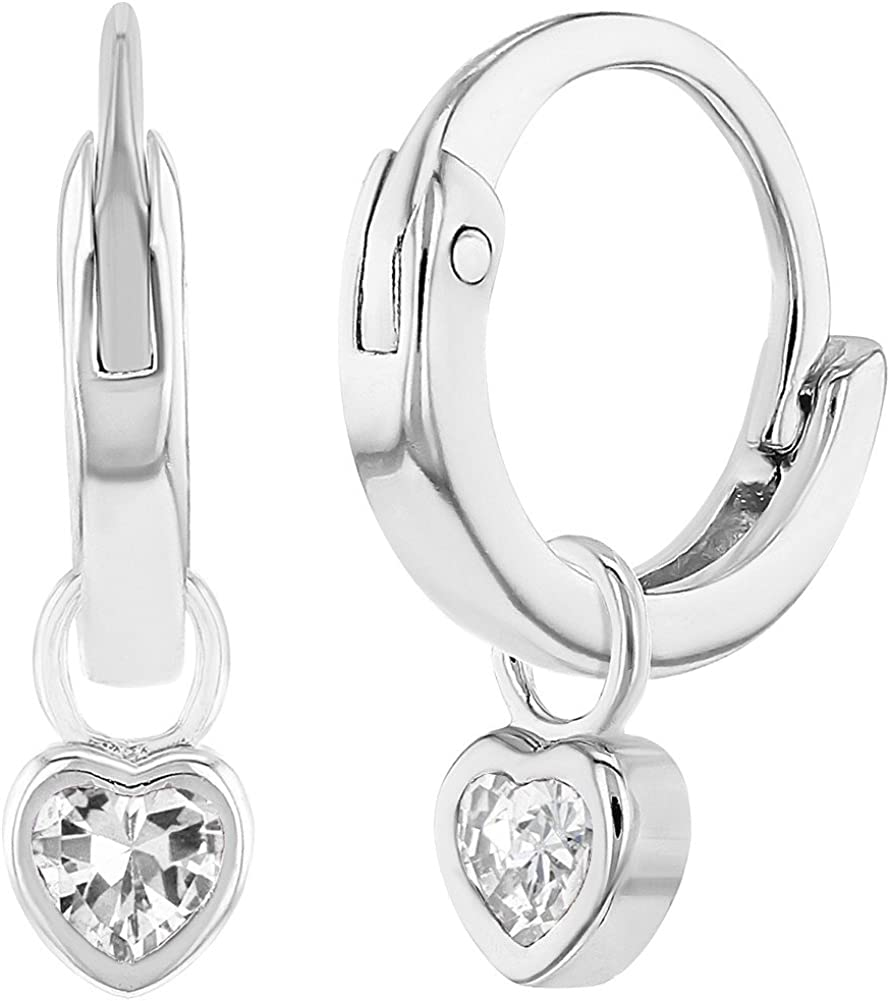 925 Sterling Silver Clear CZ Small Hoop Earrings for Girls Kids Infants 0.39