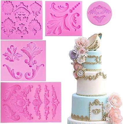 Juego de 4 moldes de silicona con forma de rueda para decoraci/ón de pasteles fondant decoraci/ón de pasteles fondant accesorios de cocina