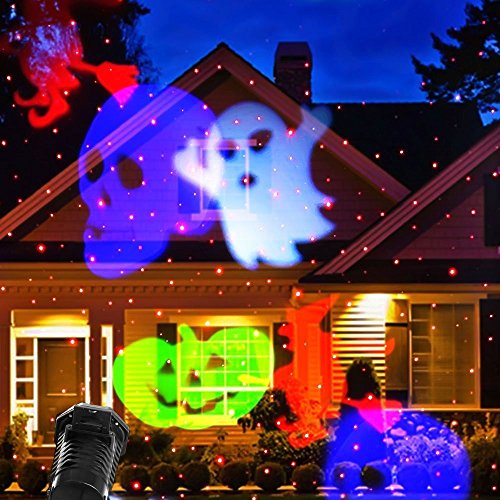 Fedpop LED Long Distance Projection 10 Patterns Slides Laser Lamp Waterproof Lights Christmas Decorations Outdoor Indoor Garden Yard Pathway Halloween Party Home Lamp