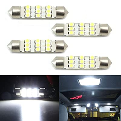 iJDMTOY (4) Xenon White 9-SMD-1210 1.72 42mm LED Bulbs 578 576 211-2 212-2 214-2 Compatible With Car Interior Dome Lights, Cargo Area Trunk Room Lights, etc: Automotive