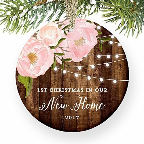New Homeowner Gifts 2017, Our 1st Christmas In New House Ornament Housewarming Present Keepsake Newlyweds Dated Peony Xmas Farmhouse Collectible 3