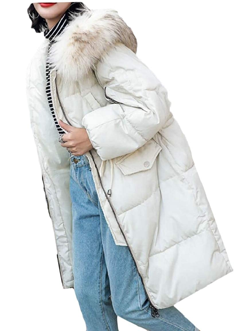 1 jxfd Womens Winter Hoodie Faux Fur Lined Down Parka Outdoor Long Jacket Coat