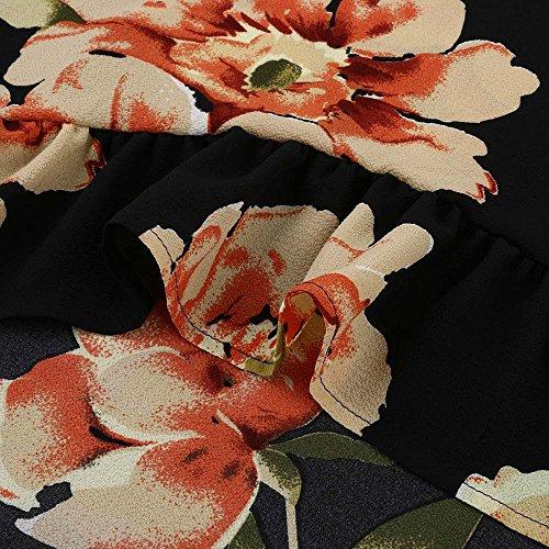 Trydoit Femmes Fleur Imprimé Blouse à Manches Longues Minces Tops Chemise Irrégulière T-Shirt Longue Chemise Décontractée