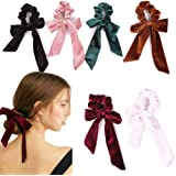 6Pcs Hair Scrunchies Bowknot Velvet Elastics Hair Bands Scrunchy Hair Rope Ties Hair Bow Ponytail Holder Accessories for Women Girls