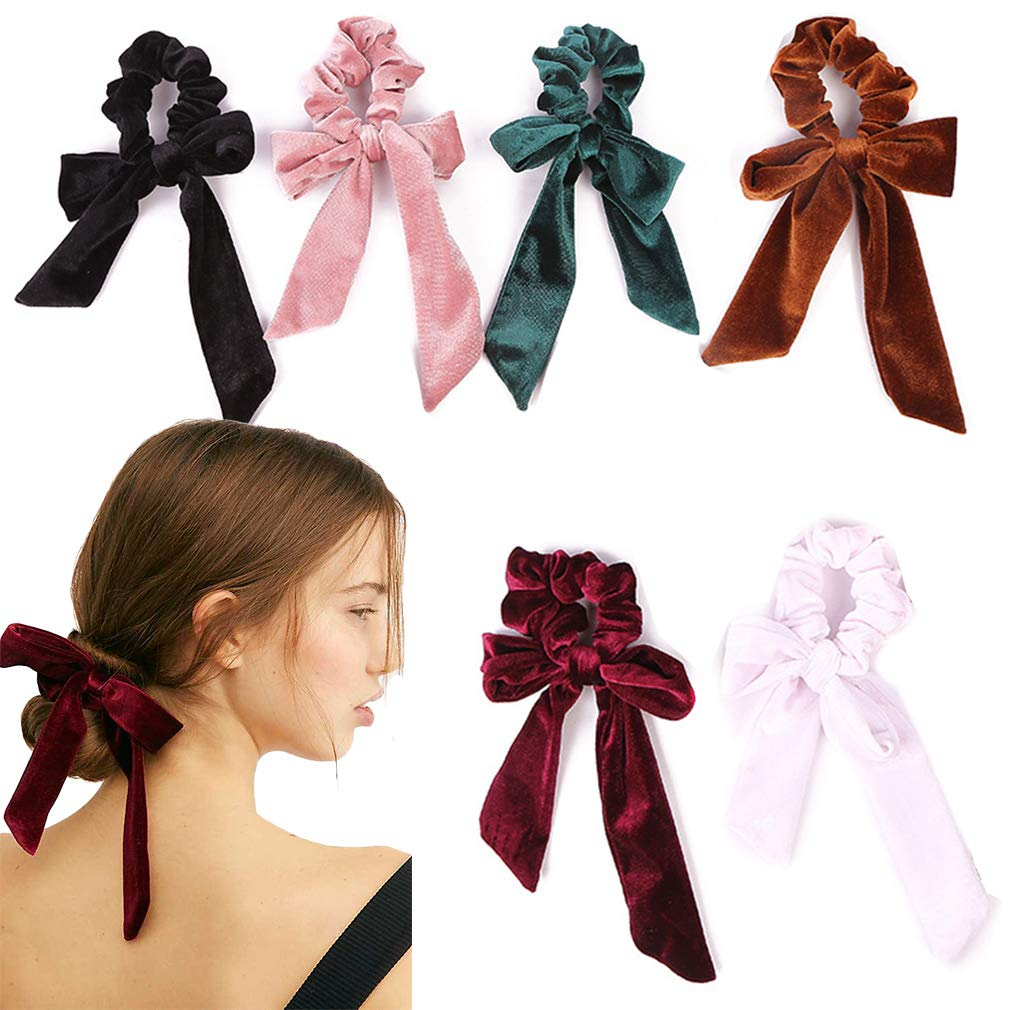 11Pcs Hair Scrunchies Bowknot Velvet Elastics Hair Bands Scrunchy Hair Rope  Ties Hair Bow Ponytail Holder Accessories for Women Girls