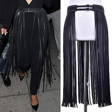 9344d9baabbd Women's Faux Leather Skirt Belt with Boho Fringe Tassel,Vintage Punk Tassel  Belt,Fringe