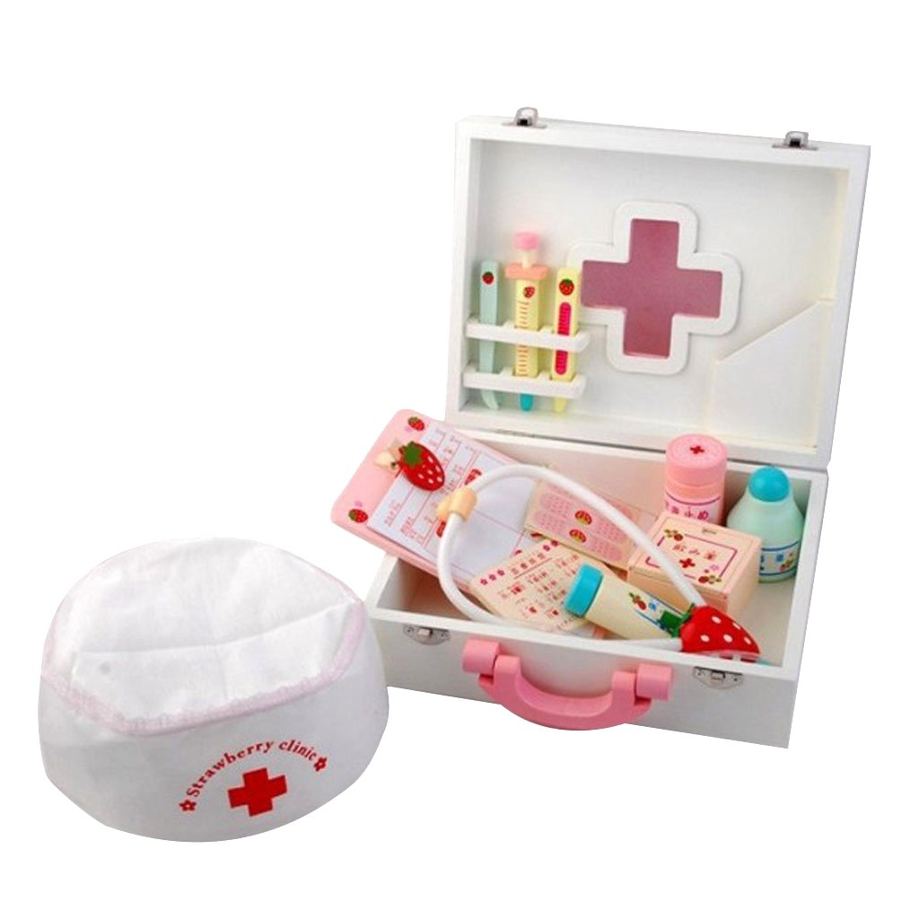MagiDeal Children Wooden Doctor Medical Set Kids Role Play Pretend Game Carry Case BHBAZUHAZA7691