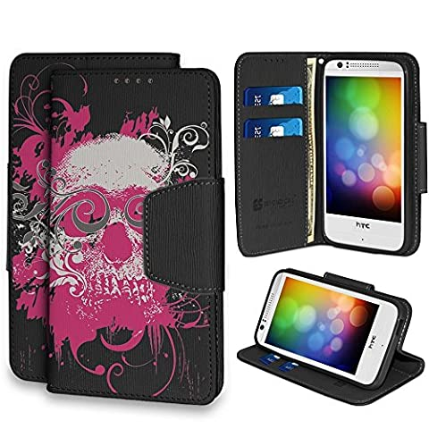 Infolio Wallet Case For HTC Desire 510 PU Leather TPU Case Card Slot Bill Fold Magnetic Flap Kickstand Black Black With Black Gel Pink Ghost (Htc Desire 510 Flap Case)