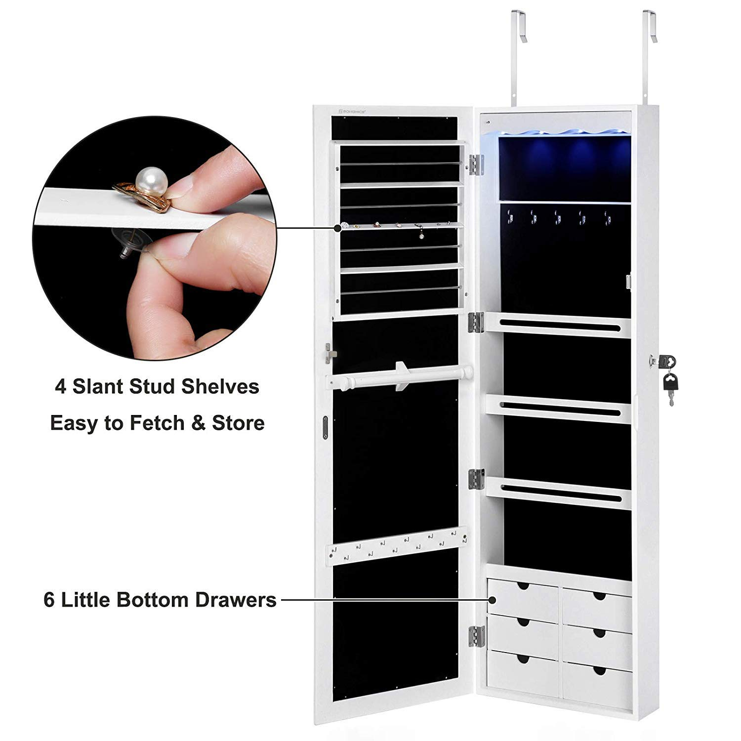 SONGMICS LED Jewelry Cabinet Armoire with 6 Drawers Lockable Door/Wall Mounted Jewelry Organizer White Patented UJJC88W by SONGMICS (Image #9)