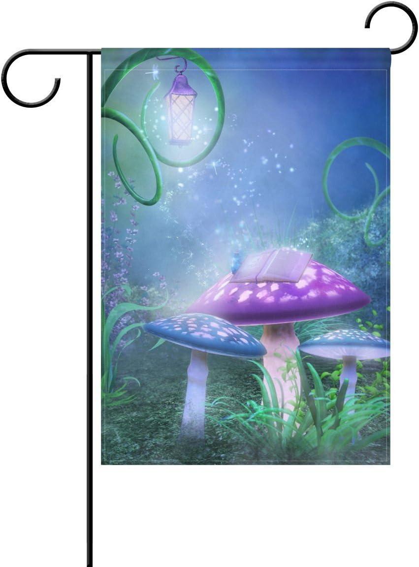 COCOBE - Bandera Decorativa de jardín con diseño de Setas de Doble Cara, Bandera de jardín de Hadas y Cuentos del Mundo, 28 x 40 Pulgadas: Amazon.es: Jardín