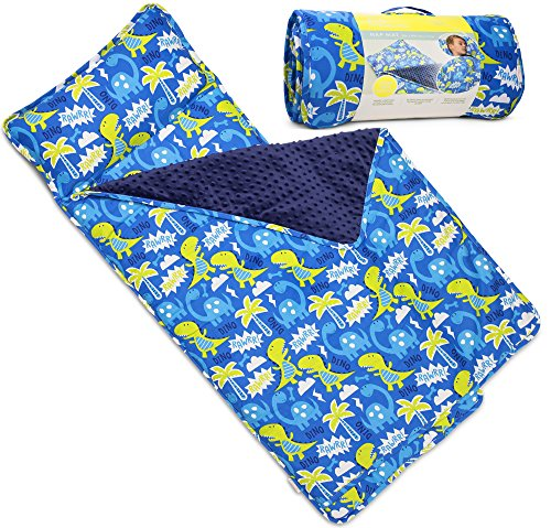 Kids Nap Mat with Removable Pillow - Soft, Lightweight Mats, Easy Clean Toddler Nap Pad for Preschool, Daycare, Kindergarten - Children Sleeping Bag (Blue with Dinosaur Design) by Bambino (Dinosaur Sleeping Bag)