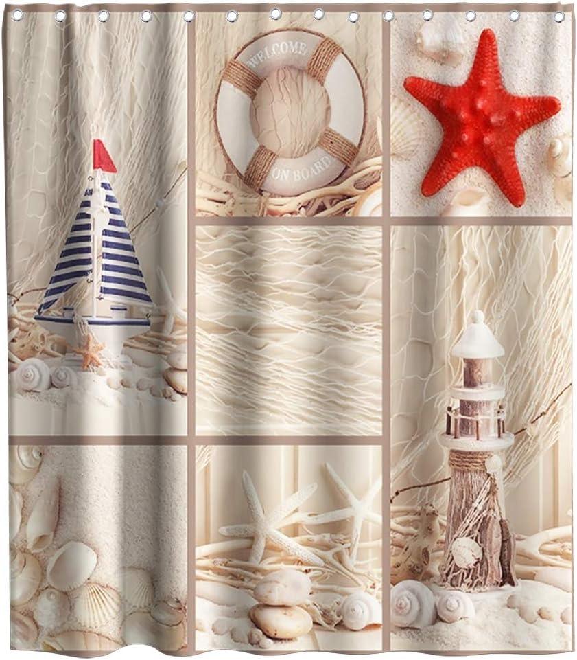 Octopus Nautical Shells Design Fabric SHOWER CURTAIN 70x70 w//Hooks