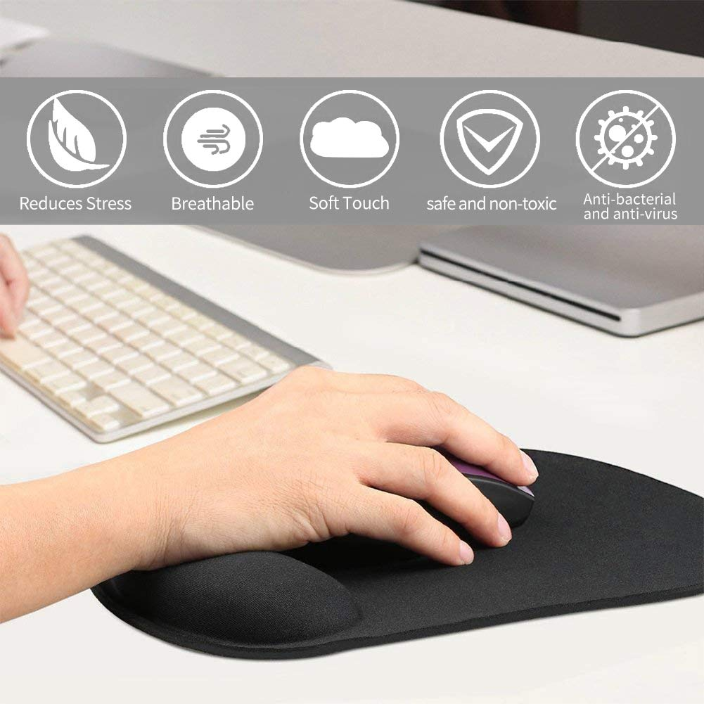 Mouse Pad ICETEK Mouse Pad Mat with Keyboard Wrist Rest Ergonomic Gel Filled Mouse Pad with Wrist Cushion Support with Memory Foam for Work Home Office Computer