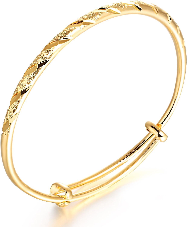 OPK Pulsera elegante para mujer chapado en oro de 18K, brazalete de diamante tallado, longitud ajustable