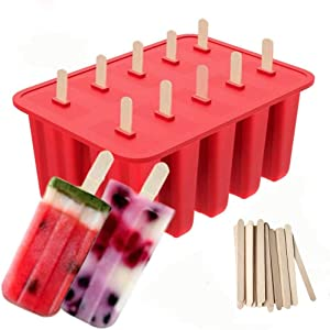 Popsicle Model Ice Pop model Food Grade Silicone with 50 Popsicle Sticks Frozen Ice Popsicle Maker For Kids Food Health Certification Red