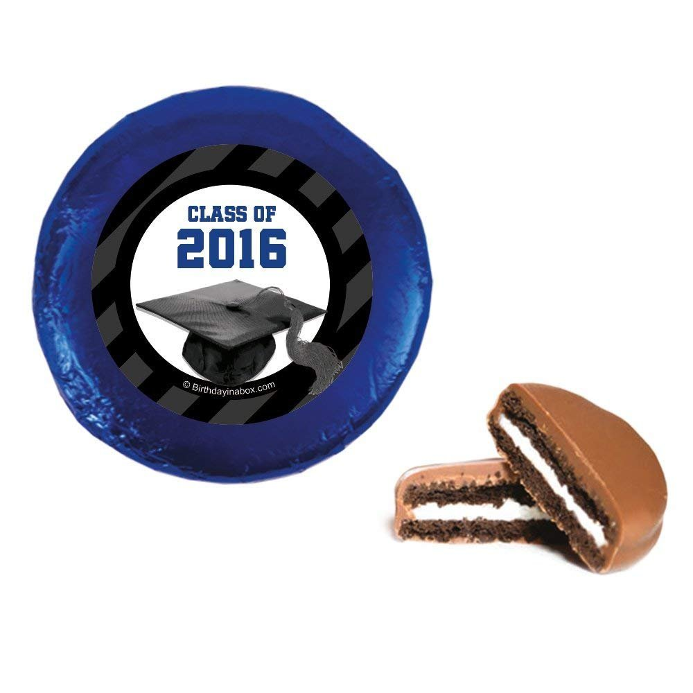 24 Pack Belgian Chocolate Drenched Oreo Cookies - Class of 2016 Graduation Party Favors - New Chapter Design (Blue)