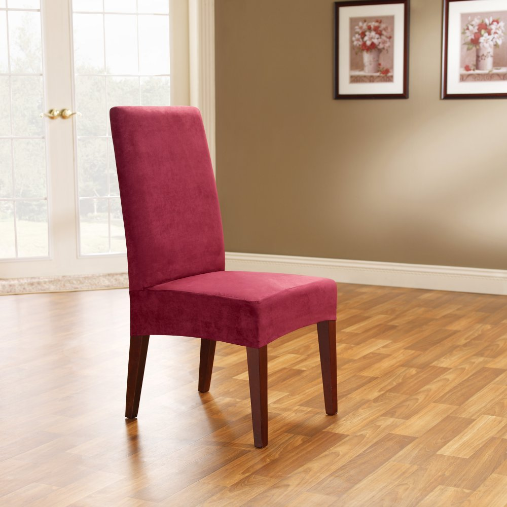 amazoncom sure fit soft suede shorty dining room chair slipcover burgundy sf36674 home u0026 kitchen
