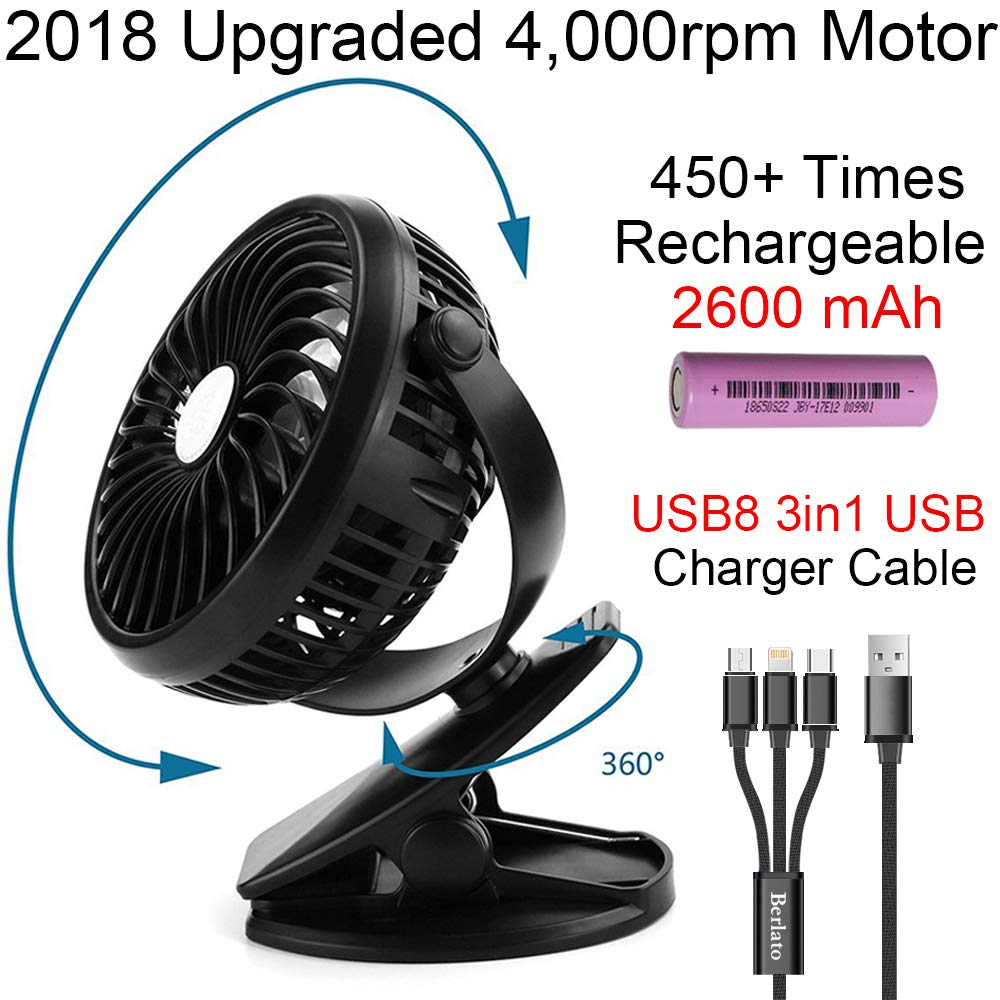 2018 Portable Clip on Fan with Rechargeable Battery 2600mAH (Over 450 times recycle) Mini Fan for Baby Stroller, Crib, Pushchairs, Outdoor Travel, Car Seat by Berlato