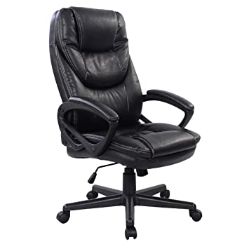 giantex pu leather high back ergonomic office chair black
