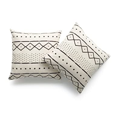 Hofdeco Decorative Throw Pillow Cover HEAVY WEIGHT Cotton Linen African Mud Cloth Ethnic Natural Dots and Line 18 x18  45cm x 45cm Set of 2