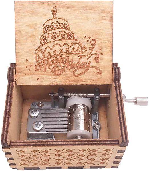 Caja musical de madera tallada con manivela para cumpleaños ...