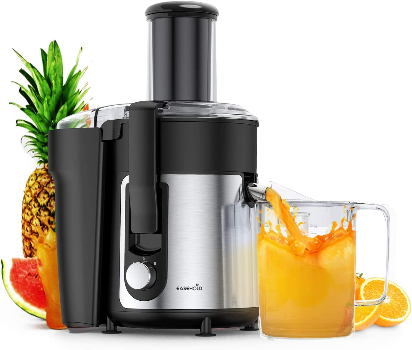 Easehold Juicer Machines Extractor 800W Centrifugal Juicers Electric Anti-Drip Dual Speed BPA-Free with Juice Jug and Pulp Container for Fruit Vegetable