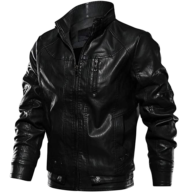 CRYSULLY Mens Fall Winter Faux Leather Jacket Vintage Stand Collar Thin Pu Leather Biker Jackets