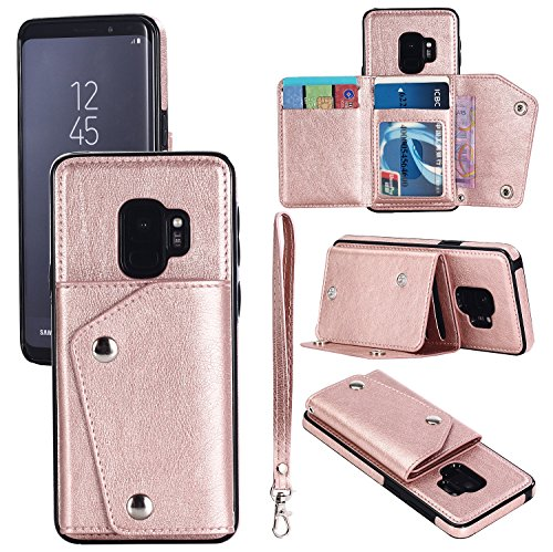 Hawk Wallet (FLY HAWK Samsung S9 Plus Leather Phone Case Wallet Smart Kickstand Card Holder Cover with Hand Straps, Rose Gold)