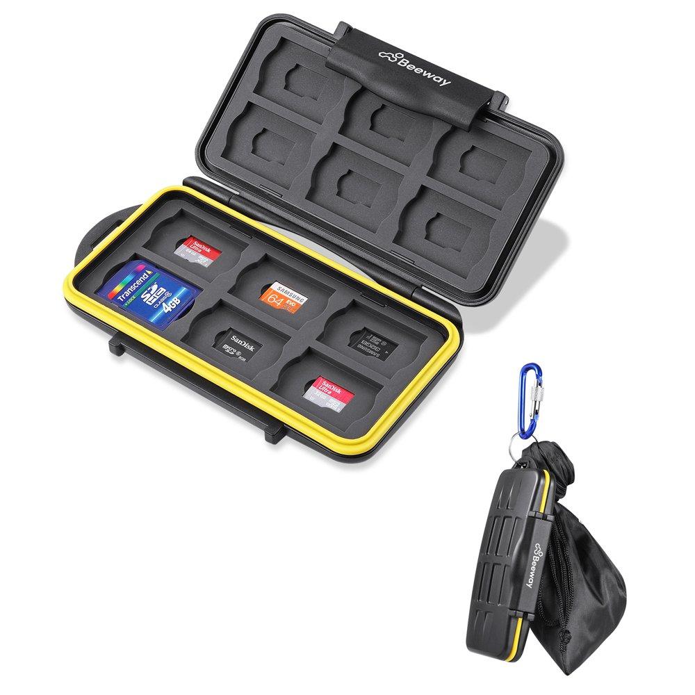 Beeway CF Card Holder 6 Slots Water Shock Resistant Protector Compact Flash Card Holder for Sandisk Transcend Lexar Kingston CF Cards with Storage Bag /& Carabiner
