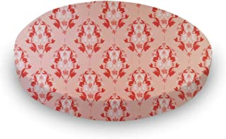 product image for SheetWorld Fitted 100% Cotton Percale Oval Sheet, Fits Stokke Mini 23 x 29, Little Mermaid Damask, Made in USA