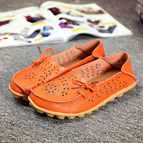 YIXINAN Woman Hollow Casual Shoes Peas Driving Shoes Comfortable Flat Shoes Leather Lace-up Shoes Orange ho3yBQQJHV